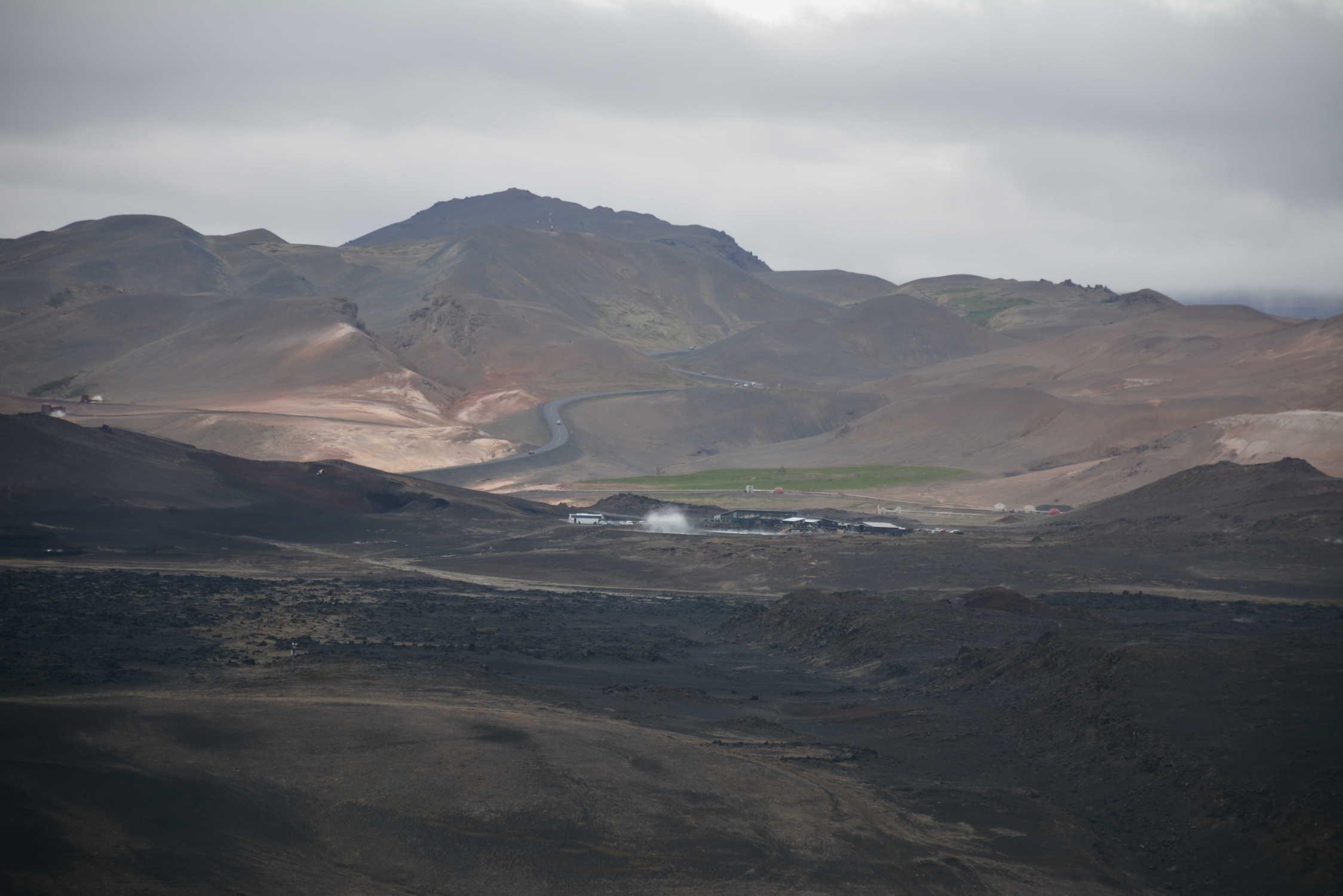 prírodné kúpalisko Mývatn fotené z vulkánu